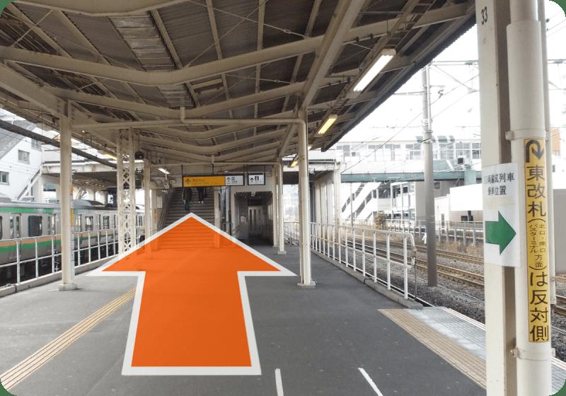 JR東海道本線 「平塚駅」で下車し、西改札口に向かってください。<br>東京・横浜方面からお越しの方は先頭車両、小田原方面からお越しの方は最後尾の車両側が西改札口です。