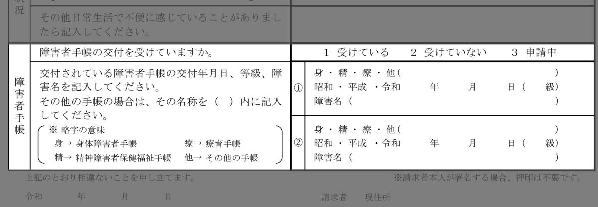 病歴・就労状況等申立書(障害者手帳)